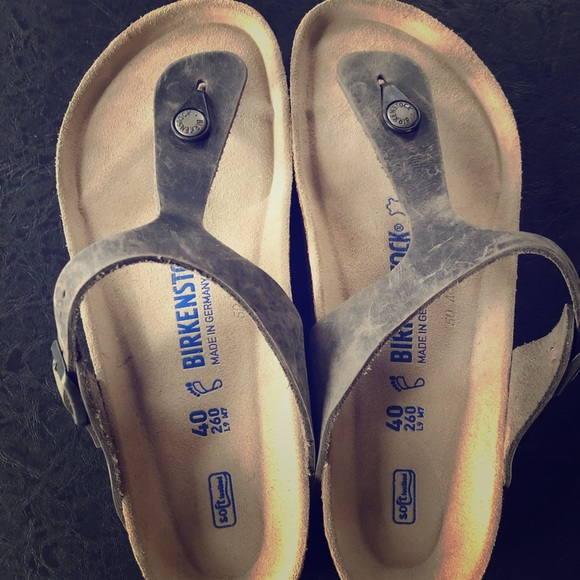Birkenstock Gizeh Thong Sandals Iron Oiled Leather NWT